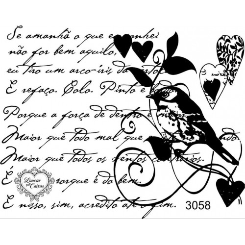 Carimbo Texto E Passarinho 3058 - 10,5 Cm X 8 Cm