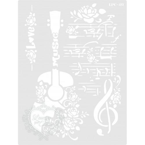 Stencil Violão Floral - 20x15cm - Ref. 40