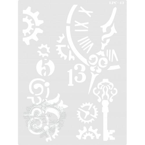 Stencil Relógio, Chaves e Engrenagens - 20x15cm - Ref. 43