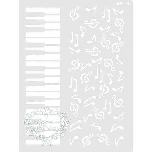Stencil Piano e Notas Musicais - 20x15cm - ref. 50