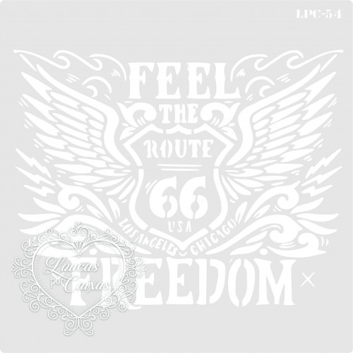 Stencil Feel the Freedom Route 66 - 16x16cm - Ref. 54