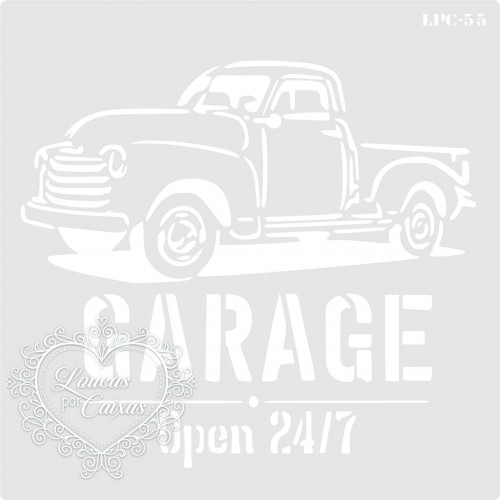 Stencil Garage Open 24.7 - 16x16cm - Ref. 55