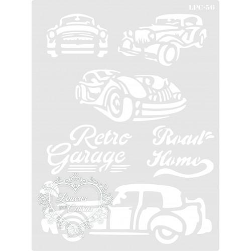 Stencil Retro Garage Carros Antigos - 20x15cm - Ref. 56