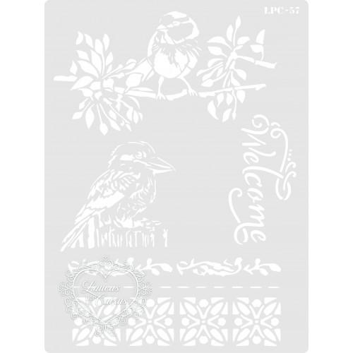 Stencil Pássaros Welcome - 20x15cm - Ref. 57