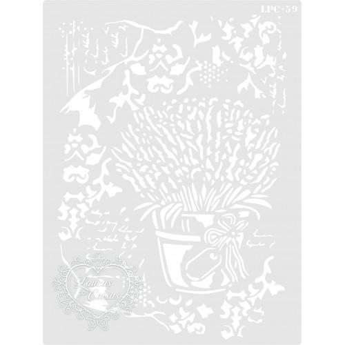 Stencil Vaso Lavandas - 20x15cm - Ref. 59