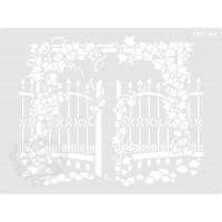 Stencil Portão com Flores - 20x15cm - Re..