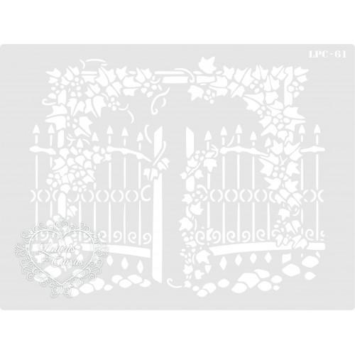 Stencil Portão com Flores - 20x15cm - Ref. 61