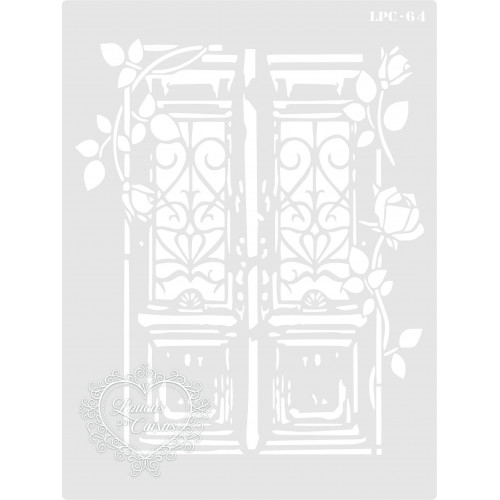 Stencil Porta com Arabescos e Ramos - 20x15cm - Ref. 64