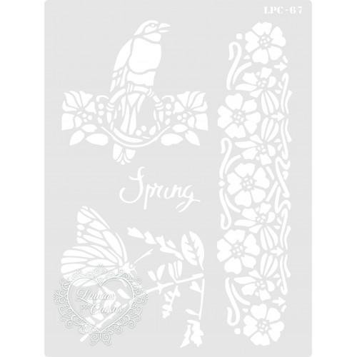Stencil Spring Pássaro, Borboleta e Ramos - 20x15cm - Ref. 67