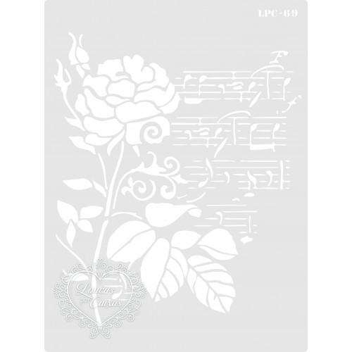 Stencil Rosa e Notas Musicais - 20x15cm - Ref. 69