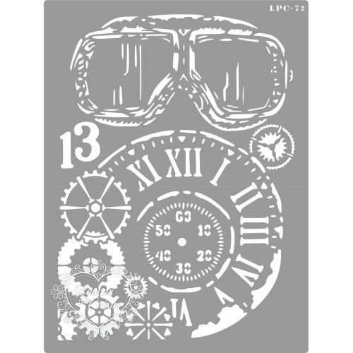 Stencil Óculos, Relógio e Engrenagens - 20x15cm - Ref. 72