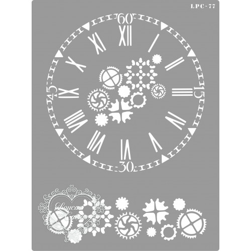 Stencil Relógio e Engrenagens - 20x15cm - Ref. 77