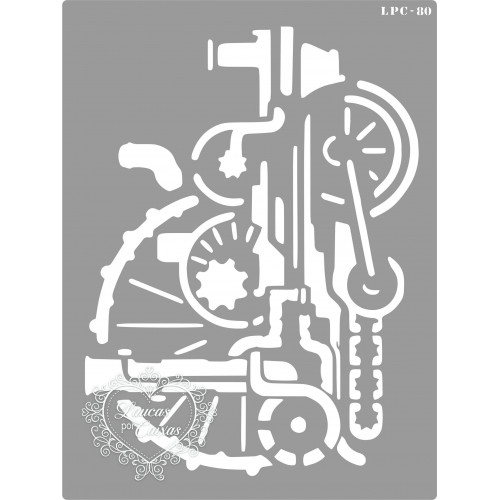 Stencil Maquinário Steampunk - 20x15cm - Ref. 80