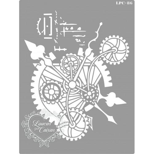 Stencil Relógio, Engrenagens e Ponteiros - 20x15cm - Ref. 86