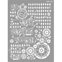 Stencil Engrenagens Mixed Media - 20x15c..