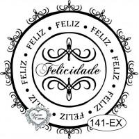 Carimbo Felicidade - 7X7Cm..