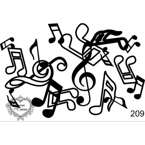 Carimbo  fundo notas musicais ref 209 - 8.4 x 5.7 cm