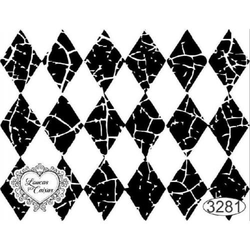 Carimbo Fundo Losangos - 6 X 7,5Cm - Ref. 3281