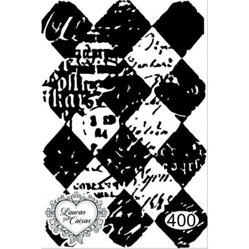 Carimbo Fundo Losangos Vintage - Ref 400 - Tam 5 X 7.3 Cm