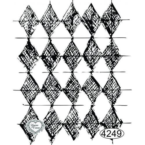 Carimbo Fundo Losangos Rabiscados - 7,5x6,5cm - Ref. 4249