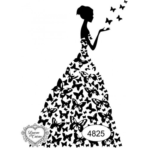 Carimbo Dama Borboletas Ref 4825- Tam 6.3 X 9.5 Cm