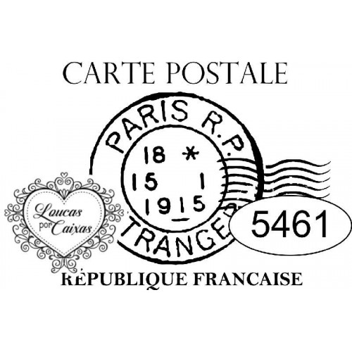 Carimbo Ref 5461 Selo Carte Postale - 4 X 3.4 Cm