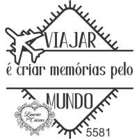 Carimbo Texto Viajar É Criar Memórias - Tam. ...