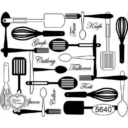 Carimbo Fundo Utensílios De Cozinha - Ref 5640 - 7,5 X 6Cm