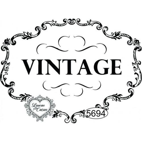 Carimbo Vintage Moldura Em Arabescos - Ref. 5694 - 8X6Cm