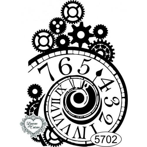 Carimbo Relógio E Engrenagens Espiral - Ref. 5702