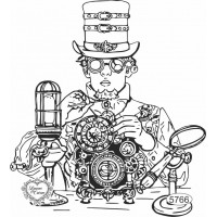Carimbo Cientista Steampunk - 12x11cm - ..