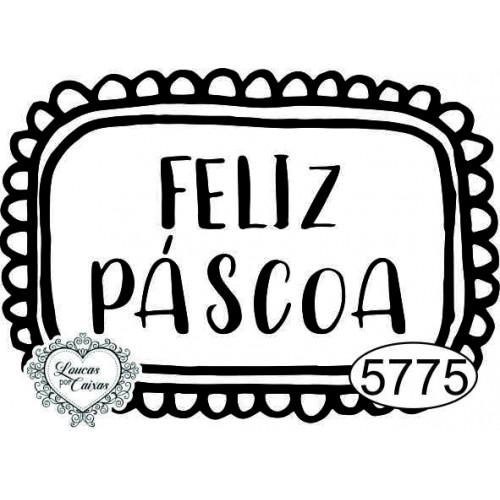 Carimbo Plaquinha Feliz Páscoa - 5x3,5cm - Ref. 5775
