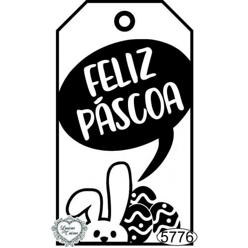 Carimbo Tag Feliz Páscoa Coelhinho e Ovos - 8x4,5cm - Ref. 5776
