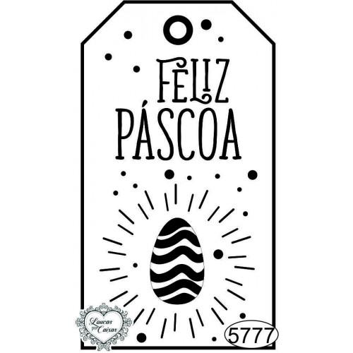 Carimbo Tag Feliz Páscoa Ovo Decorado - 8x4,5cm - Ref. 5777