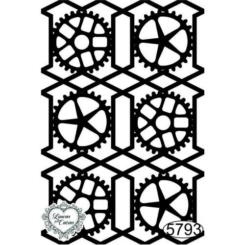 Carimbo Fundo Geométrico Engrenagens - 7,5x5cm - Ref. 5793