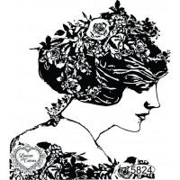 Carimbo Dama Cabelo Floral - 9x8cm - Ref..