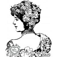 Carimbo Dama Floral de Perfil - 9x7,5cm ..