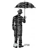 Carimbo Homem Com Guarda Chuva - 10X5Cm ..