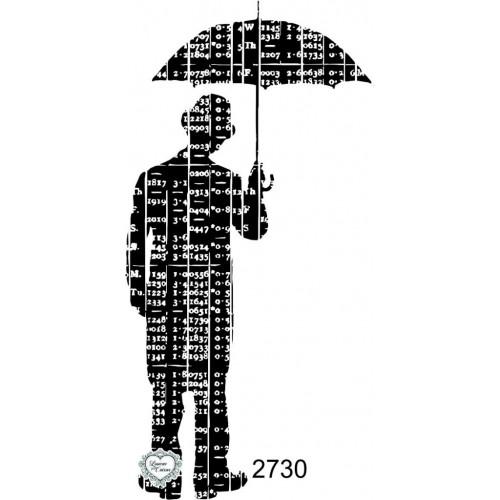 Carimbo Homem Com Guarda Chuva - 10X5Cm - Ref. 2730