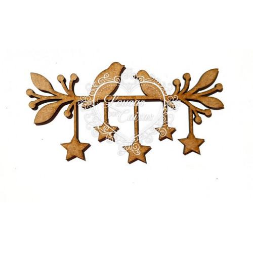 Pássaros no galho com estrelas - 2 unid
