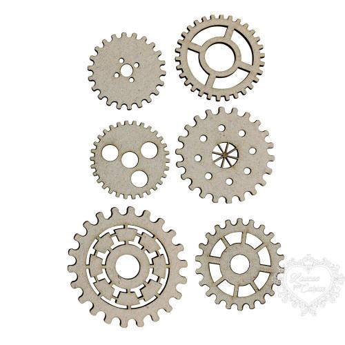 6 Engrenagens Variadas - De 3,5 A 5 Cm -  Chipboard