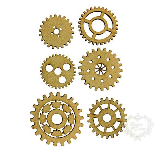 6 Engrenagens Variadas - De 3,5 A 5 Cm - MDF