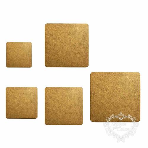 Kit Placas Quadradas - 5 Tamanhos - MDF