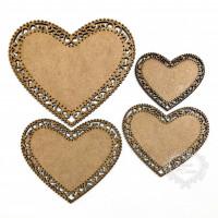 Kit com 4 corações rendados..