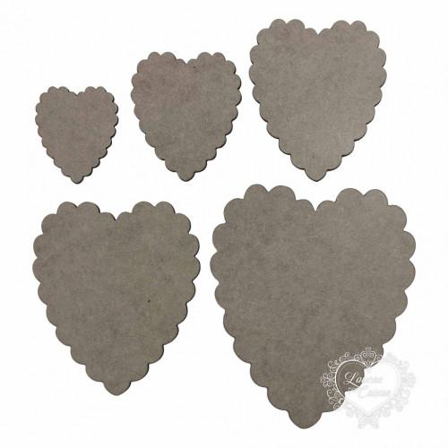 Kit Com 5 Placas Coração Em Escalope - Chipboard