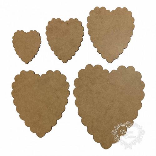 Kit Com 5 Placas Coração Em Escalope - MDF