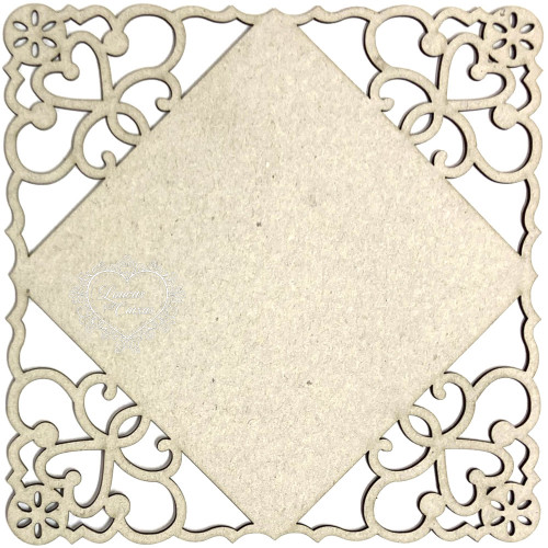 Placa Quadrada Pontas Rendadas 15 Cm - Chipboard