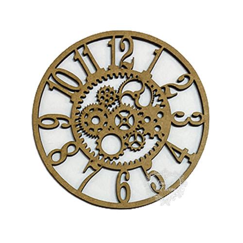 Aplique Relógio Com Engrenagens - M - Em MDF