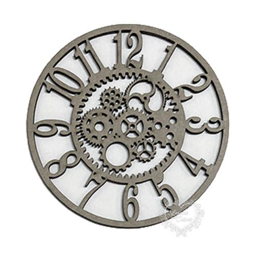 Aplique Relógio Com Engrenagens - G - Em Chipboard