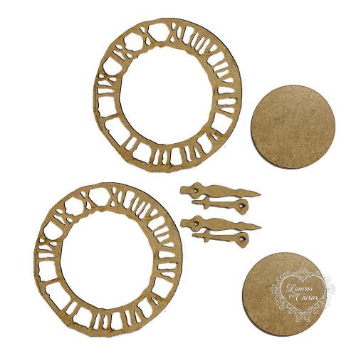 Kit relógio com 2 relógios e 2 placas desgastado - MDF